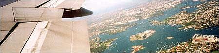Flying over Sydney
